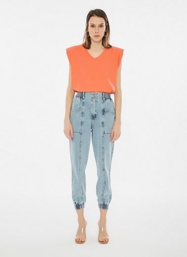 Loves You Paçası Lastikli Yüksek Bel Jean Pantolon Mavi